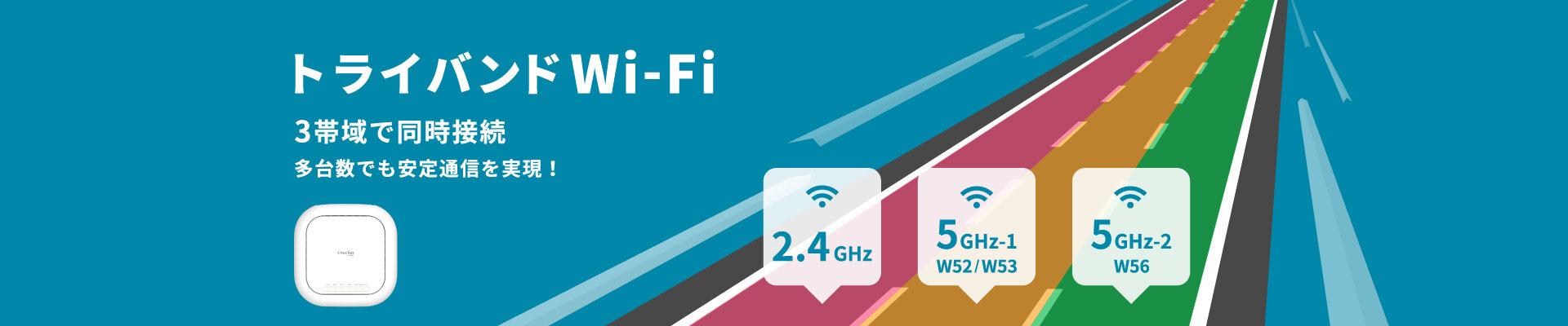 3帯域で同時接続し、多台数でも安定通信を実現します。